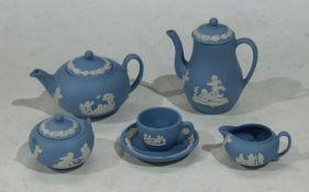 Wedgwood Blue Jasper ware toy/doll size miniatures, comprising teapot, coffee pot, milk jug, sugar