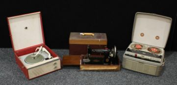 A portable Marconiphone; a reel-to-reel recorder; a Singer sewing machime (3)