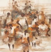 Paco Gorospe (Ermita School) Figures signed, oil on canvas, 74cm x 74cm