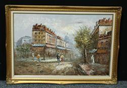 Continental School Street Scene oil on canvas