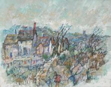 Yram Allets (Cornish Artist 1898 - 2009) The Village signed, oil on board, 40cm x 49cm