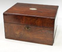 A Victorian mahogany work box, fitted with unmarked white metal topped dressing table jars, red