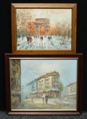 Continental School (20th century) A Busy Street Scene oil on canvas; another, similar (2)