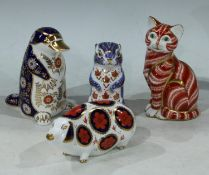 Royal Crown Derby kitten paperweight, silver stopper (second quality), unboxed; Royal Crown Derby