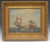 Maritime School (early 20th century) Mast Down, The Dueling Ships initialled LL, oil on canvas, 41cm