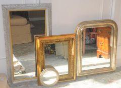 A contemporary silvered rectangular mirror, 80cm x 45cm