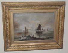 English School, 19th century, Sailing Boats, on calm waters, oil on canvas, signed with initials,