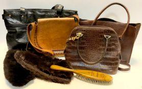 Vintage Fashions - a leather Crocodile skin effect handbag, others, hats, bonnets, shoulder bags,