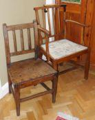 An 18th century beech elbow chair, drop in seat, H stretcher; an elm side chair (2)