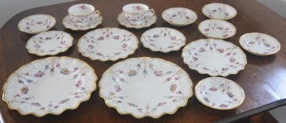 A Royal Crown Derby Royal Antoinette wavy edge dinner plates, 21cm diam, printed marks; two