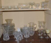Glassware - sundae dishes; jugs; bowls; Edinburgh crystal wine glasses; etc