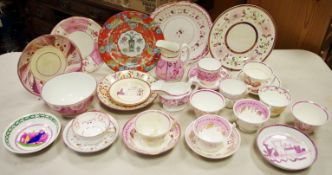 ****Please note amended image****English Pottery - Sunderland lustre, various, teacups, saucers,