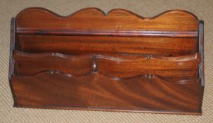 A 19th century mahogany waterfall stationery letter rack, 36cm wide, c.1880