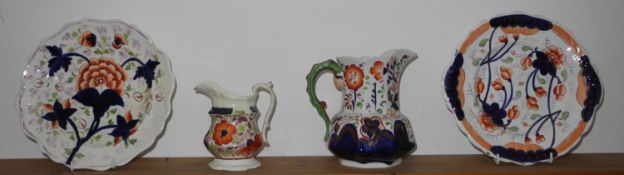 An English Pottery Gaudy Welsh hexagonal jug; anther; two plates