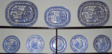 A Staffordshire shaped circular Sicilian pattern plate; a similar bowl, Asia; others, Willow pattern
