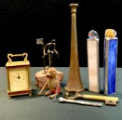 Boxes & Objects - a novelty corkscrew, cast as a key; silver slide action propelling pencil,