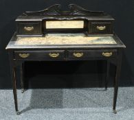 An Edwardian ebonised writing desk, swan neck gallery above a central rectangular bevelled mirror