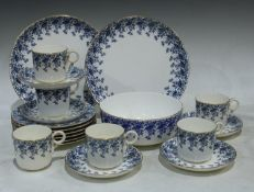 A Royal Worcester blue transferred pattern part tea service