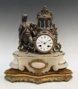 A late 19th century alabaster and spelter figural mantel clock, eight day, white enamel dial,