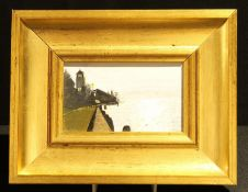 English School (20th Century) Bell-Tower by the Coast unsigned, oil on board, 7.5cm x 13cm, framed