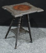 A Colonial hardwood occasional table/jardinere stand, carved top, 51cm high, 39cm wide.
