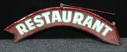 An arched arrow shaped handpainted steel sign, Restaurant, double sided, approx 125cm wide