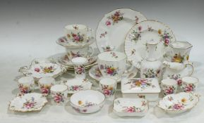 Ceramics - Royal Crown Derby Posies pattern, comprising tea cups and saucers, trinket box and cover,