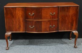 A Queen Anne design mahogany side board, center bow front top above two drawers and two cupboard