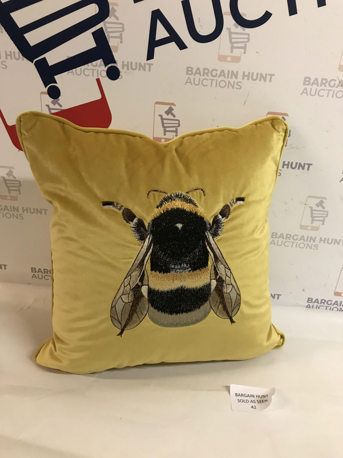 Lot 42 - Velvet Embroidered Bee Cushion