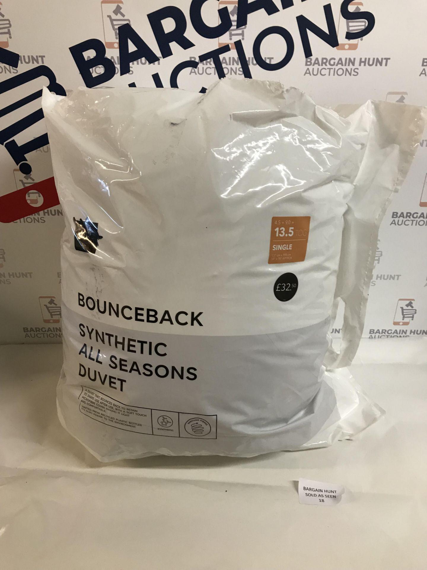 Lot 18 - Bounceback Synthetic All Seasons 13.5 Tog Duvet, Single