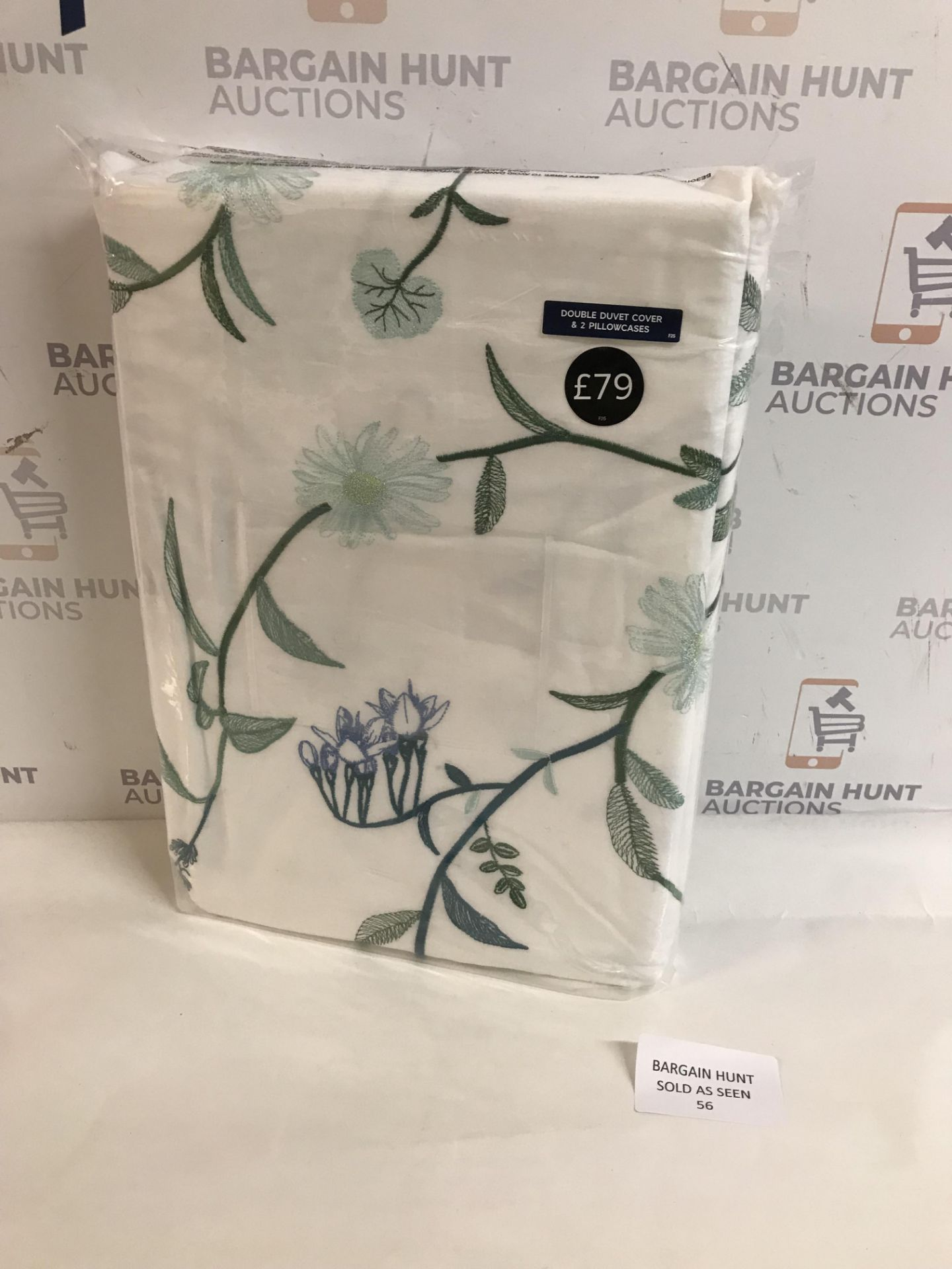 Lot 56 - Pure Cotton Botanical Embroidered Bedding Set, Double
