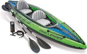 Intex K2 Challenger Kayak, Man Inflatable Canoe with Aluminum Oars RRP £224