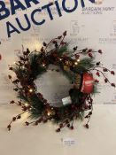 Light Up Red Berry & Pine Cone Wreath RRP £25