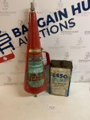 Set of 2 Vintage Items, Esso Blue Petrol Can and 1960's Fire Extinguisher