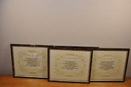 """A set of 4 embroidered """"Sayings"""" each 11"""" x 13"""" in a frame. (1 frame a/f)"""
