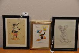 "Disney 3 Nursery prints - Donald Duck etc.. 5"" x 7 1/2"""