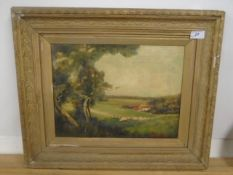 """William Prior dated 1894 oil on canvas - Sheep in field 15 1/2 x 11 1/2"""""""