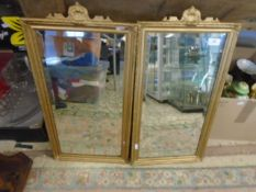 """Pair of bevel edged wall mirrors in gilt frames, 13.5"""" x 24"""""""
