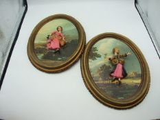 2 Oval Wall Plaques with Ladies