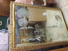 Mirror with engraved horse design ( damage to frame)
