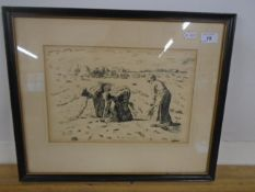 """Pen and ink the gleaners signed bottom right ? A.L.Gibbs '49? 13 x 8 1/2"""""""