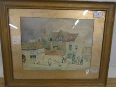"""J Smith Watercolour - Town Street scene with figures , signed bottom right 13 1/2 x 10"""""""