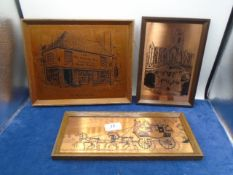 3 copper engravings incl Fountains Abbey