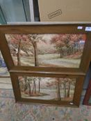 """A pair of Silk stitched Woodland scene in Oak frames 10 x 20"""""""