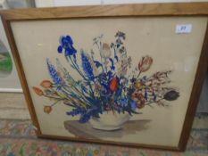 "Vivian Starling 1944 Watercolour - Still life Spring flowers in bowl 22 x 18"""