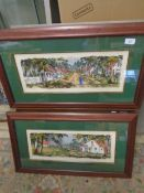 """Pair of Hand painted - African Village signed bottom right 19 x 7 """""""