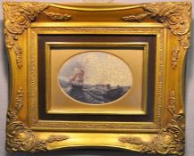 A pair of oilograph seascape pictures in ornate gilt frames, overall sizes 31cm by 26cm plus a