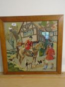 Woolwork/tapestry picture hunting scene, approx 17.5 square inches