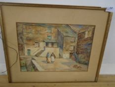 """E J Stone Watercolour Street scene by Harbour signed bottom right - no glass 13 x 9 1/2 """""""