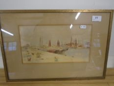 """Ernest Vickers Watercolour Yarmouth? Harbour 11 x 6 1/2 """""""